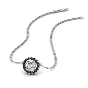 Black Diamond Halo Pendant
