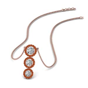 Halo Orange Sapphire Necklace