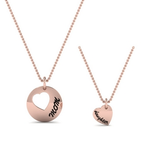 Mom Daughter Engraved Necklace