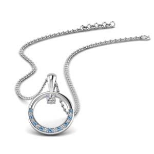 Diamond Circle Blue Topaz Pendant