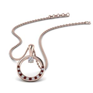 Pave Set Ruby Circle Necklace