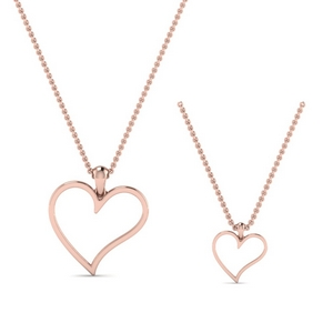 14K Rose Gold Open Heart Pendant