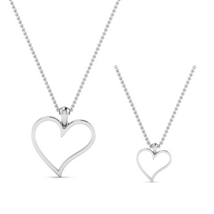 Mom Daughter Necklace 14K White Gold