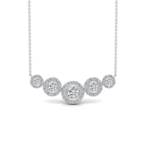 5 Stone Halo Diamond Necklace
