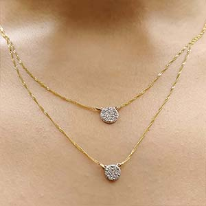 Double Chain Cluster Diamond Pendant