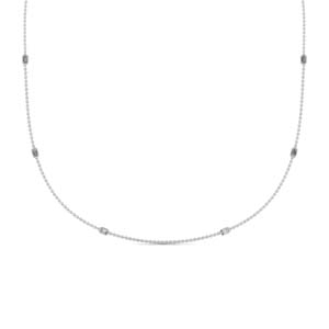 Emerald Cut Diamond Station Necklace