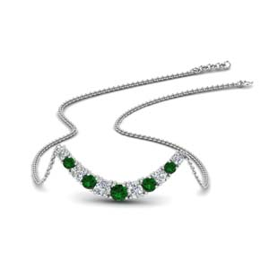 Classic Emerald Curved Necklace