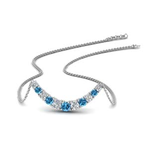 Platinum With Topaz Smile Necklace