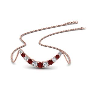 1 Ct. Diamond Ruby Smile Necklace
