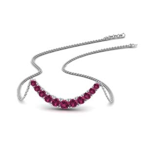 Pink Sapphire Curved Necklace