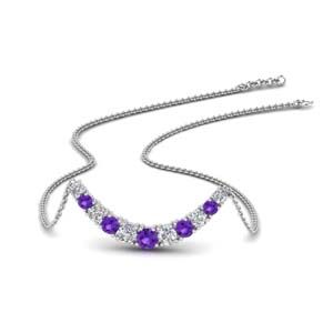 Purple Topaz Round Diamond Necklace