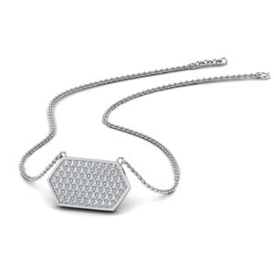 White Gold Hexagon Necklace