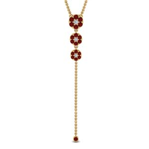Single Line Chain Ruby Drop Pendant