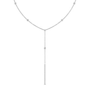 Platinum Long Drop Diamond Pendant