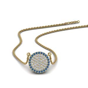 10 mm Blue Topaz Disc Pendant