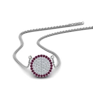 14K White Gold Pink Sapphire Pendant