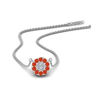 Orange Topaz Flat Disc Pendant