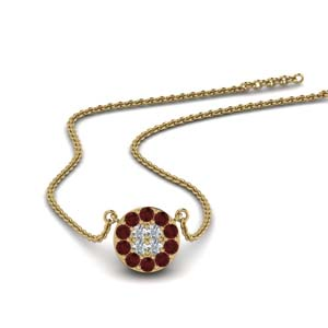 Flat Disc Ruby Pendant