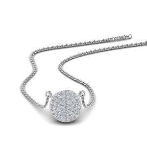 Flat Disc Diamond Pendant Necklace