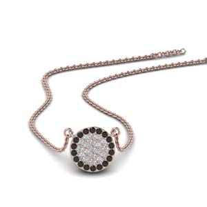Black Diamond Flat Disc Necklace