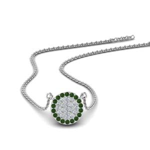 White Gold Emerald Flat Disc Necklace