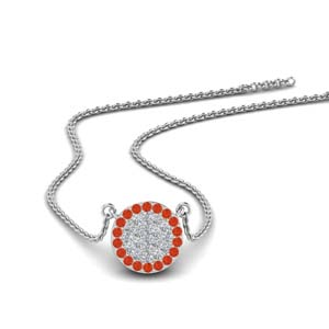 Flat Disc Orange Topaz Pendant
