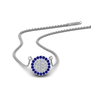 Flat Disc Pendant With Sapphire 8 mm