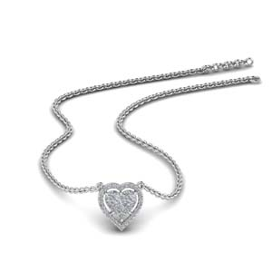 Halo Invisible Set Heart Pendant