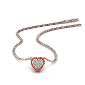 Orange Topaz Heart Halo Pendant