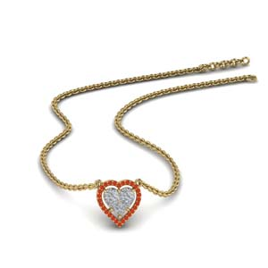 Orange Topaz Heart Pendant