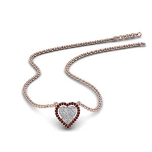 Heart Halo Ruby Pendant