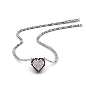 Invisible Ruby Heart Halo Pendant
