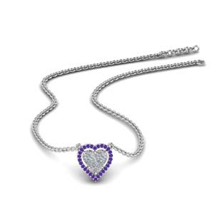 Purple Topaz Heart Halo Pendant