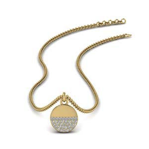 Gold Disc Diamond Necklace For Women