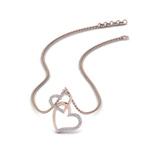 Diamond Interlocked Heart Necklace