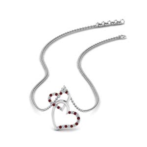 Ruby Interlocked Heart Necklace
