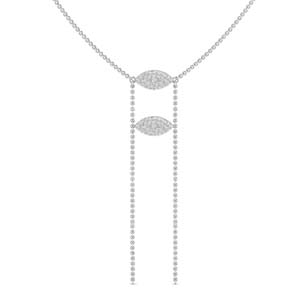 White Gold Double Marquise Lariat Necklace