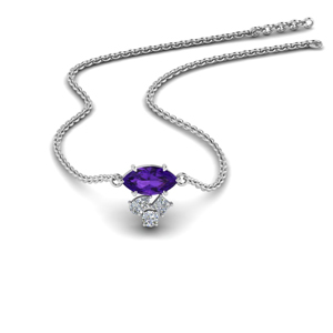Platinum Amethyst Necklace Pendant