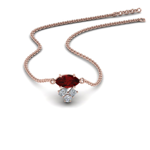 Delicate Cluster Ruby Pendant