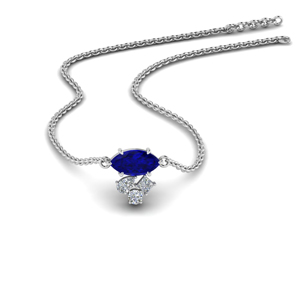 Marquise Sapphire Cluster Pendant