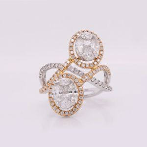 Two Stone Oval Halo Diamond Ring