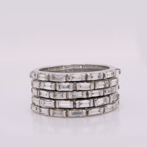 5 Row Baguette Diamond Wedding Band