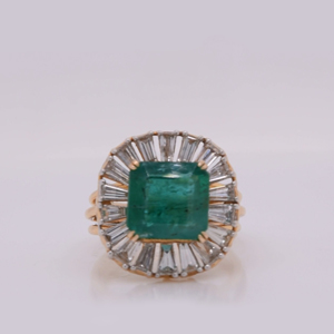 Emerald Baguette Colored Engagement Ring