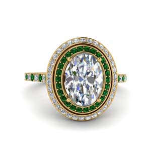 Emerald Wedding Ring With Halo 2.50 Ct.