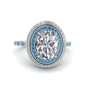 2.50 Ct. Double Halo Platinum Topaz Ring