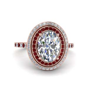 2.50 Ctw. Oval Diamond Ring With Ruby