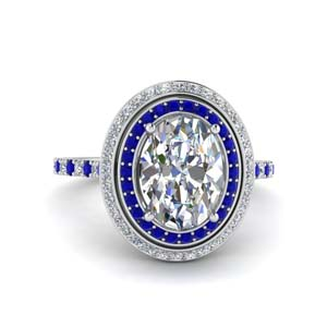 2.50 Ctw. Double Halo Ring With Sapphire