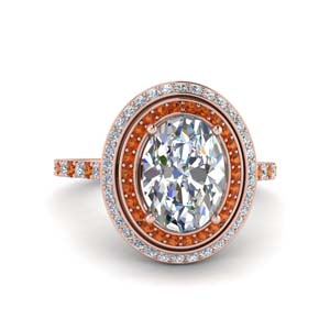 2.50 Ct. Orange Sapphire Double Halo Ring