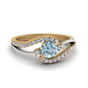 Swirl Aquamarine Engagement Ring