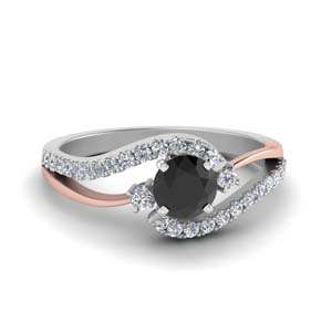 Black Diamond Swirl Engagement Ring
